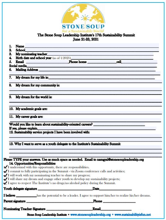 Summit Form for the 17th Sustainability Summit