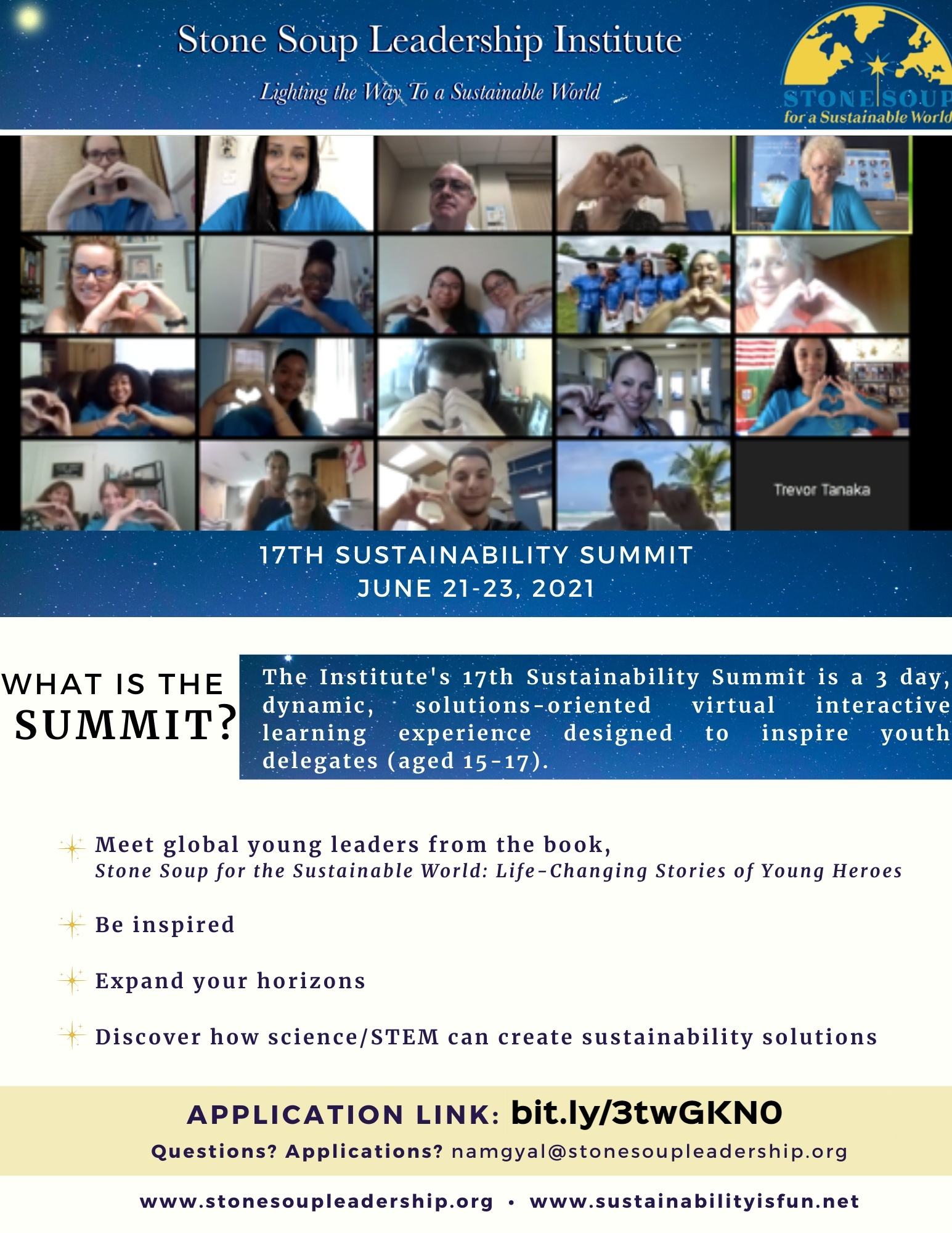 Summit Flyer for the 17th Sustainability Summit with images of youth delegates